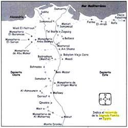 Mapa de la Sagrada Familia en Egipto
